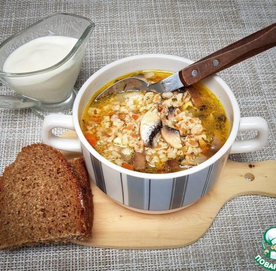 Суп грибной со спельтой