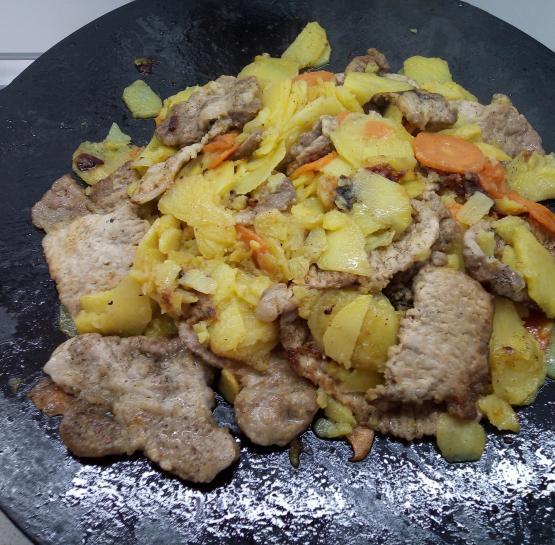 Отбивная из свинины с овощами