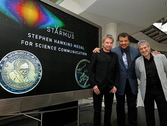 "The Stephen Hawking Medal is awarded to Neil degrasse Tyson, Jean-Michel Jarre, and the producers of the CBS Hit Show ""The Big Bang Theory"""